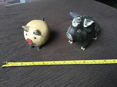 Pair of rustic HANDPAINTED handcrafted wooden pigs, decor items VGUC