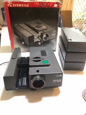 Reflecta AF 1800 slide projector, slide trays, screen & stand