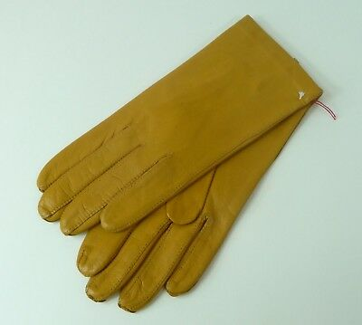 Vintage Women's Mustard Colored Leather Gloves Size 7