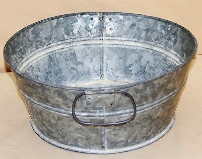 "Lot Of 6-Galvanized Steel Round Seafood Buckets 11"" Wide & 4.75"" Deep-Good Used!"