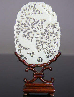 Antique Chinese White Jade Pendant Plaque Screen Stand 18Th - 19Th C. Qing