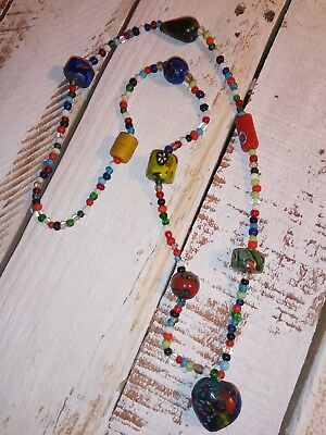 "Antique Trade Bead Strand Random African 31"" Necklace Vintage Beads Colorful"