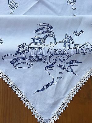 Vintage Hand Embroidered Linen Tablecloth Blue Willow Theme Crochet Edges 130cm