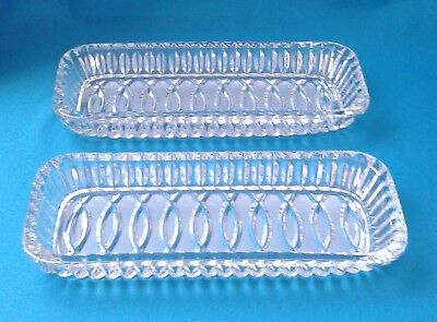 Set Of 2 Versatile Sparkling Glass Serving Trays - Clear & Opaque Glass - Unused