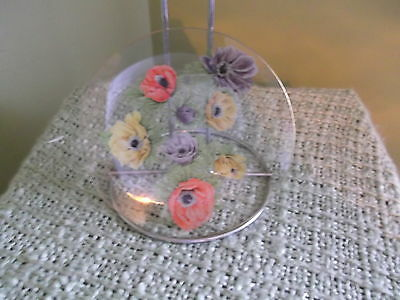1970 AVON seller award gift - Hand painted floral glass plate - goldleaf trim