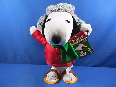 Peanuts Large Snoopy Side Stepper Musical Dancing Christmas Plush Stuffed *new*