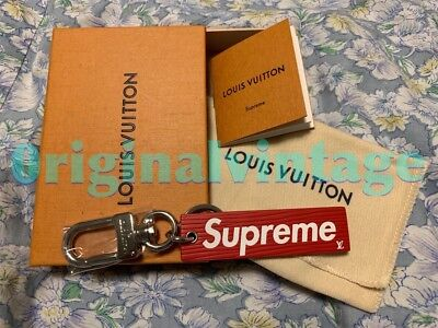e0437e9a871 🔥RARE LOUIS VUITTON x SUPREME Red Leather Box Logo Key Chain Charm  monogram🔥