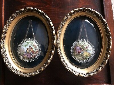 Pair of Ornate Victorian Style Porcelain Cameo Picture Frame Signed Fragonard