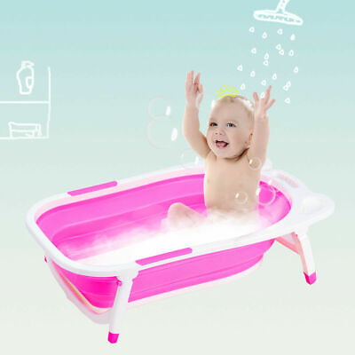 Pink Baby Folding Bathtub Infant Collapsible Portable Shower Basin w/ Block
