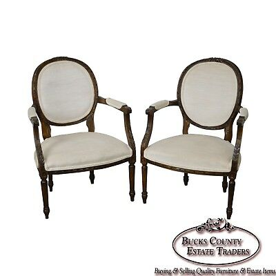 French Louis XVI Style Vintage Pair of Carved Fauteuils Arm Chairs