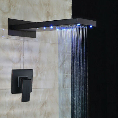 LED Single Handle Simple Design Oil Rubbed Bronze Black Wall Mount Shower Group