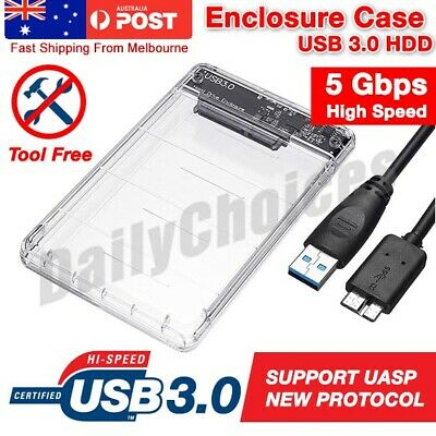 "USB SATA External 2.5"" inch HDD SSD Hard Drive Enclosure Disk Case Box PC AU"