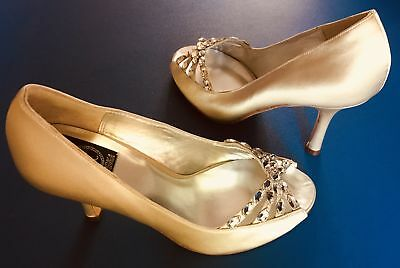 Xiomara Ines Crystals Party and Wedding Shoes, Upper(Satin and Genuine Leathe...