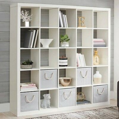 Tall Bookcase Cubby Large Open Bookshelf Modern 25 Cube White Divider Display