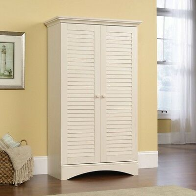 Kitchen Storage Pantry Cabinet Country Antique White Tall Cupboard  Organizer New