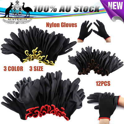 New 12Pairs Red/Yellow/Brown Nylon PU Safety Palm Coating Work Gloves S/M/L SIZE