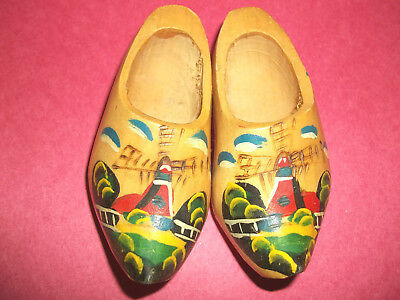 Small Pair of Decorative Wooden Shoes Made in Holland