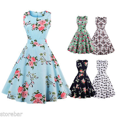 SALE 50s 60s Swing Vintage Retro Floral Housewife Pinup Rockabilly Party Dress
