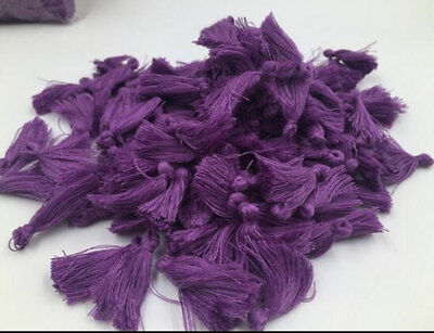 100pcs purple  Cotton Tassels Sewing Charm Pendant  for Jewelry Trim 3cm/1.2 in