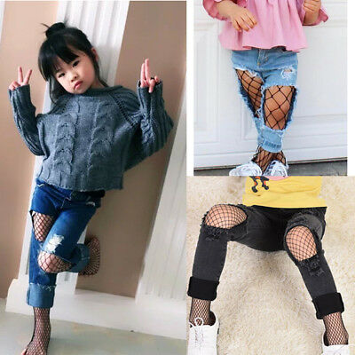 Fishnet Stockings Kid's Socks Pants Princess Girls Pants Mesh Black Tights AU