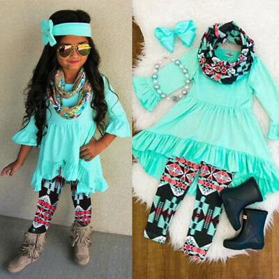 AU Stock Toddler Baby Girls Clothes Party Dress Tops Leggings Pants Headband Set