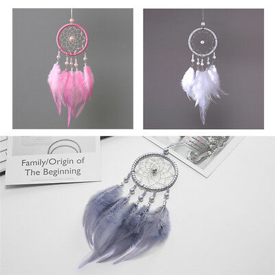 Handmade Dream Catcher With Feathers Car Wall Hanging Decor Ornament Gift 3Color