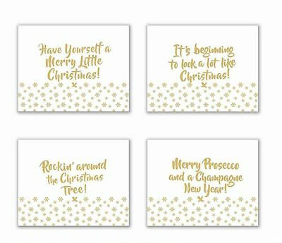 Christmas Gold Glitter Mirror Glass Placemats Set of 4
