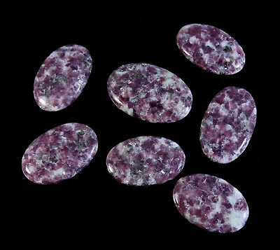 247Cts. Natural Purple Lepidolite Oval Cabochon 7Pcs. Lot Gemstone