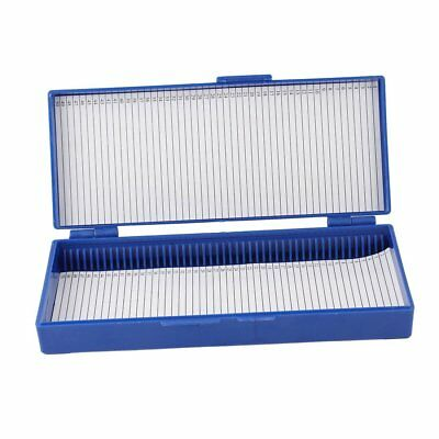 Plastic 50-Place Microslide Slide Microscope Box,blue A7J6