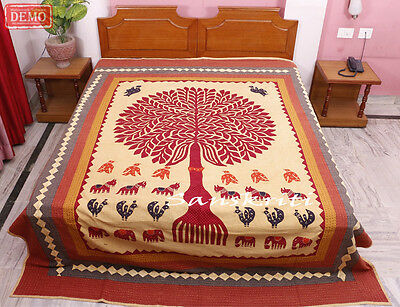 Indian Kantha Quilt Handmade Tree of life Patch Work Vintage Queen Size Gudri