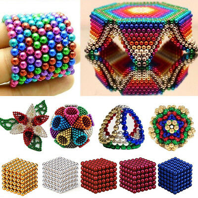 216pcs 3/5mm Magnetic Bucky Balls Magnet Spacer Beads Cube Kids Adult DIY Toys