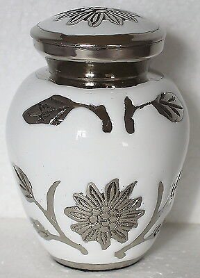 Mini keepsake urn for ashes ,Cremation Funeral Memorial small urn, White Flower