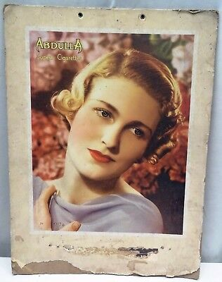 Vintage Cigarettes's Sign Abdulla Advertising Cardboard Tobacciana Collectibles