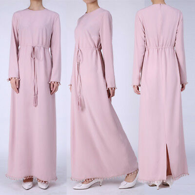 Women Long Sleeve Party Muslim Maxi Dress Kaftan Abaya Hijab Islamic Clothing