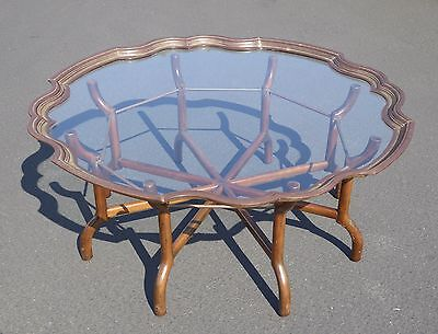 Vintage BAKER French Provincial Scalloped Brass Glass COFFEE TABLE Spider Feet