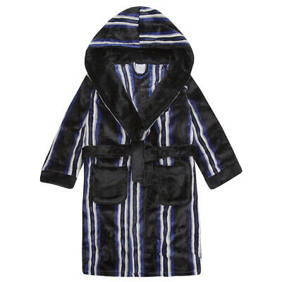 4Kidz Kids Childs Junior Boys Striped Hooded Dressing Gown Flannel Fleece Robe