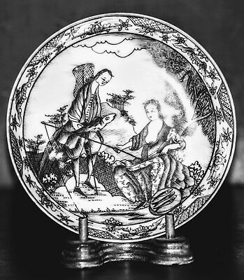 18th Century Qianlong Era Chinese Export European Subject Grisaille Saucer MINT