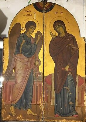 Antique Russian icon Pair of Lager 19th century, icon of Annunciation,