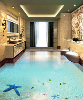 Amiable Blue Water 3D Floor Mural Photo Flooring Wallpaper Home Print Decoration