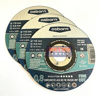 Dronco Metal Cutting Slitting Disc Disk 115 x 0.8 x 22.23 Extra Fine 3-10Pack