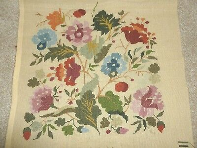 Pretty vintage cross stitch embroidery panel floral jacobean style lovely colour