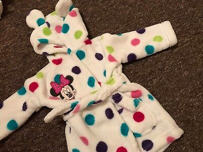 Minnie Mouse Dressing Gown 0-6 Months Baby Girl Soft Warm Gift Christmas