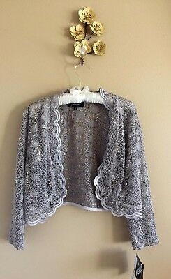 Champagne Lace Scalloped Cropped Jacket Bolero R&M Richards M New w Tags Sequins