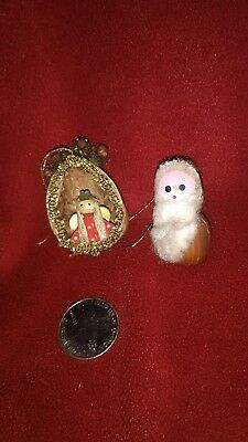 Vintage Miniature Walnut Shell Native Angel and Macadamia Nut Santa