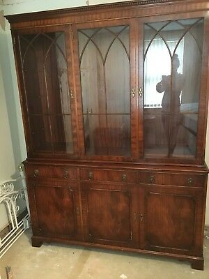 Breakfront Shelf Unit Display Cabinet Mahogany