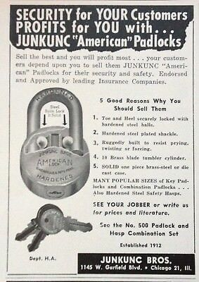 1955 Ad(H1)~American Hardened Padlock, Junkunc Bros. Co. Chicago