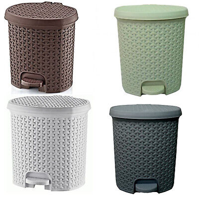 Rattan Style Plastic Pedal Bin 3 Litres - 21 Litres - Bathroom - Kitchen Rubbish