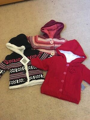BNWT girls clothes bundle cosy cardigans age 0-3 months