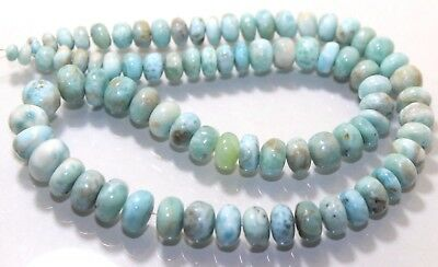 Larimar smooth Roundelle beads size is 5x11 mm length is 17 inch