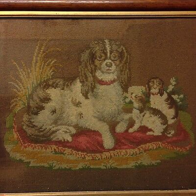 Antique 19th Century Woodwork Needlepoint Picture Of Dog With Puppies (spaniels)